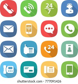 flat vector icon set - phone vector, call, 24 7, center, mail, wireless, balloon, identity card, intercome, envelope, office