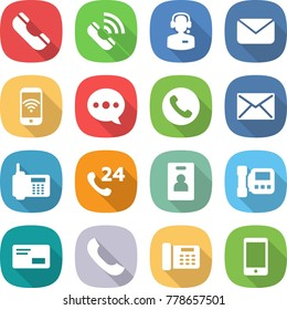 flat vector icon set - phone vector, call, center, mail, wireless, balloon, 24, identity card, intercome, envelope, office