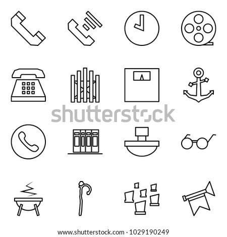 b2874e05 Flat vector icon set - phone horn vector, incoming call, clock, film coil,  gate, weight, anchor, books, paperweight, glasses, witch cauldron, crook,  ...