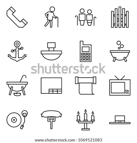 29675aba Flat vector icon set - phone horn vector, grandfather, grandmother and, gate,  anchor, paperweight, mobile, witch cauldron, drawing, scroll, tv, vinyl  player ...