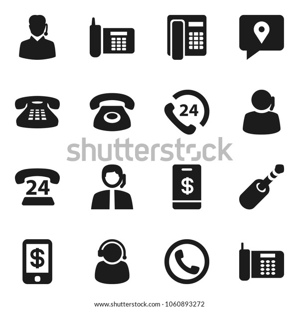 Flat vector icon set - phone vector, 24, support, traking, classic, jack, tap pay
