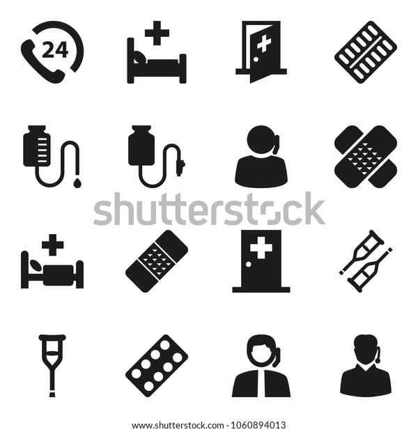 Flat vector icon set - phone 24 vector, support, crutches, patch, pills blister, hospital bed, drop counter, medical room