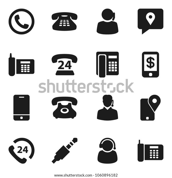 Flat vector icon set - phone vector, 24, support, traking, mobile, classic, jack, tap pay