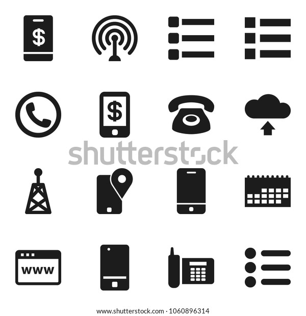 Flat vector icon set - phone vector, traking, calendar, antenna, mobile, browser, menu, cloud upload, tap pay
