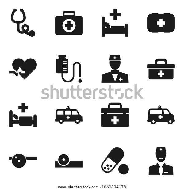 Flat vector icon set - pills vector, first aid kit, doctor bag, heart pulse, stethoscope, eye hat, hospital bed, amkbulance car, drop counter