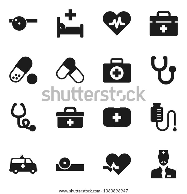 Flat vector icon set - pills vector, first aid kit, doctor bag, heart pulse, stethoscope, eye hat, hospital bed, ambulance car, drop counter