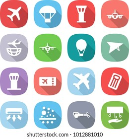 flat vector icon set - plane vector, parachute, airport tower, shipping, air ballon, deltaplane, ticket, airplane, inflatable mattress, conditioning, filter, blower, hand dryer