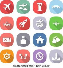 flat vector icon set - plane vector, journey, airport tower, bridge, rocket, shipping, ticket, baggage, bungalow, flippers, handwheel, palm hammock, compass, start