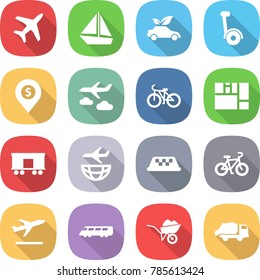 flat vector icon set - plane vector, boat, eco car, gyroscooter, dollar pin, journey, bike, consolidated cargo, railroad shipping, taxi, departure, speed train, wheelbarrow, trash truck
