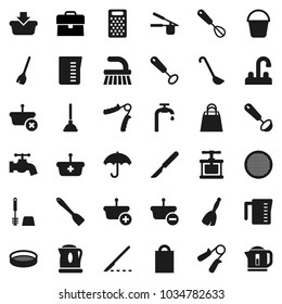 Flat vector icon set - plunger vector, broom, fetlock, bucket, water tap, toilet brush, measuring cup, cook press, whisk, spatula, ladle, grater, sieve, case, hand trainer, umbrella, scalpel, supply