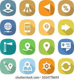 flat vector icon set - pointer vector, share, flag, percent, globe connect, phone wireless, dollar pin, right arrow, lighthouse, geo, location details, route, map, handwheel, reload