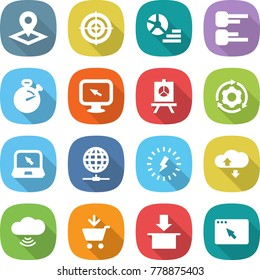 flat vector icon set - pointer vector, target, diagram, stopwatch, monitor arrow, presentation, around gear, notebook, globe connect, lightning, cloud service, wireless, add to cart, package