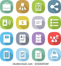 flat vector icon set - portfolio vector, share, report, pass card, receipt, atm, list, copybook, anamnesis, archive, architector, clipboard, check, document, printer