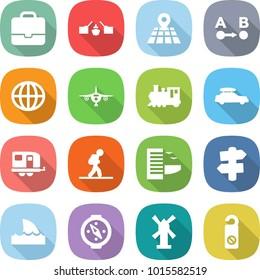flat vector icon set - portfolio vector, drawbridge, map, route a to b, globe, plane, train, car baggage, trailer, tourist, hotel, signpost, shark flipper, compass, windmill, do not distrub