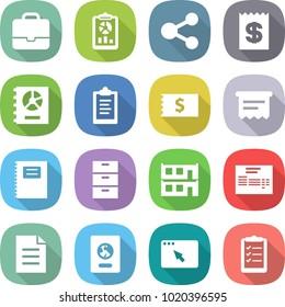 flat vector icon set - portfolio vector, report, share, receipt, annual, clipboard, atm, copybook, archive, modular house, invoice, document, passport, browser window, list