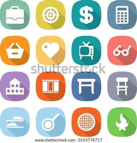 1ca49606 flat vector icon set - portfolio vector, target, dollar, calculator, remove  from