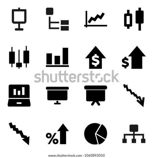 Flat vector icon set - presentation vector, graph, pie, japanese candle, laptop, crisis, percent growth, dollar, board, hierarchy