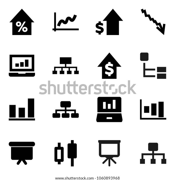 Flat vector icon set - presentation vector, graph, japanese candle, laptop, crisis, percent growth, dollar, board, hierarchy