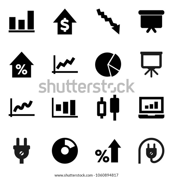 Flat vector icon set - presentation vector, graph, pie, japanese candle, laptop, crisis, percent growth, dollar, board, power plug