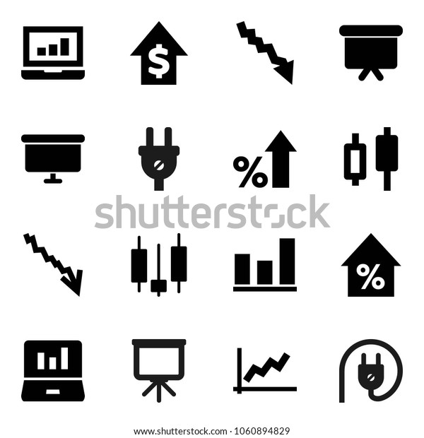Flat vector icon set - presentation vector, graph, japanese candle, laptop, crisis, percent growth, dollar, board, power plug