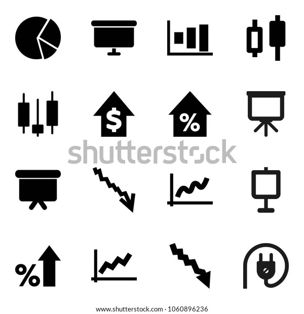 Flat vector icon set - presentation vector, graph, pie, japanese candle, crisis, percent growth, dollar, board, power plug