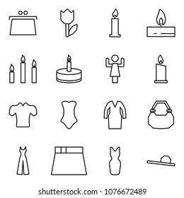 Flat vector icon set - purse vector, tulip, candle, candles, toastmaster, blouse, swimsuit, bathrobe, lady bag, female overalls, skirt, dress, hat
