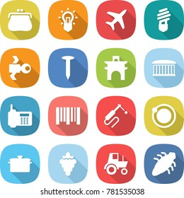 flat vector icon set - purse vector, bulb, plane, satellite, nail, arch, airport building, phone, bar code, welding, orbit, pan, grape, tractor, bug