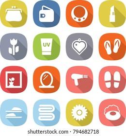 flat vector icon set - purse vector, wallet, necklace, lipstick, perishable, uv cream, heart pendant, flip flops, flower in window, mirror, hair dryer, slippers, towel, soap
