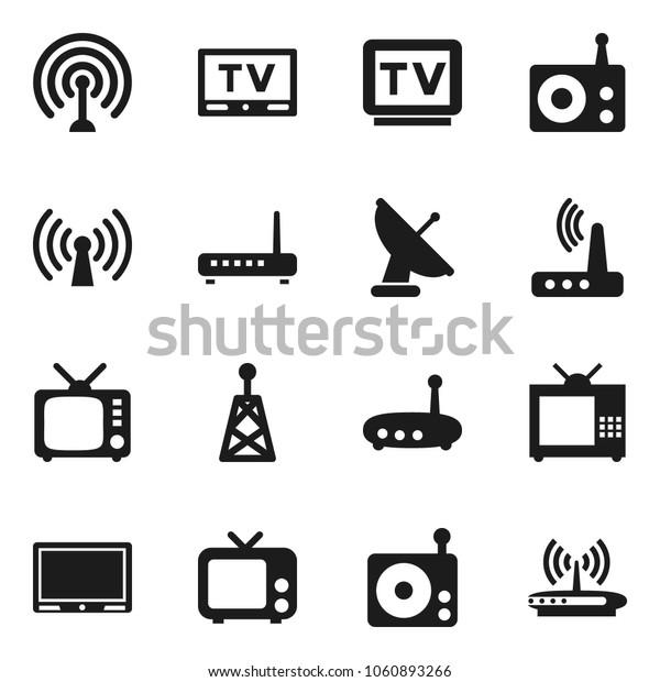 Flat vector icon set - radio vector, antenna, tv, router, wireless, satellite