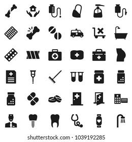 Flat vector icon set - rake vector, liquid soap, house hold, pills vial, buttocks, heart monitor, first aid kit, no trolley, doctor bag, crutches, broken bone, stethoscope, bottle, blister, bandage