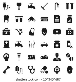 Flat vector icon set - rake vector, water tap, pills vial, buttocks, heart monitor, first aid kit, no trolley, doctor bag, crutches, broken bone, stethoscope, bottle, anamnesis, hospital building