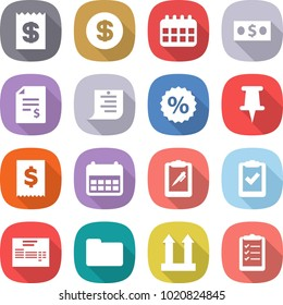 flat vector icon set - receipt vector, dollar, calendar, money, account balance, shopping list, percent, pin, tax, clipboard pen, check, invoice, documents, cargo top sign