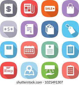 flat vector icon set - receipt vector, newspaper, sale, shopping bag, money, account balance, label, copybook, calendar, recipe, clipboard, invoice, map, hand dryer, list