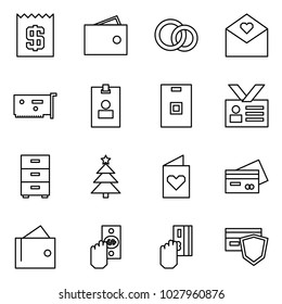 Flat vector icon set - receipt vector, wallet, rings, love letter, network card, identity, archive, chrismas, postcard, credit, pay, safe payment