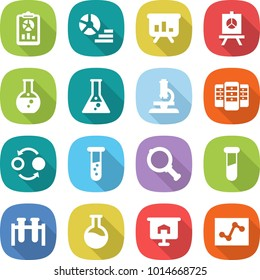 flat vector icon set - report vector, diagram, presentation, round flask, microscope, server, quantum bond, vial, magnifier, test, analytics