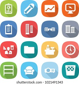 flat vector icon set - report vector, pencil, statistics, monitor arrow, clipboard, skyscrapers, school, district, architector, documents, reception, watch, rack, armchair, projector, trash bin