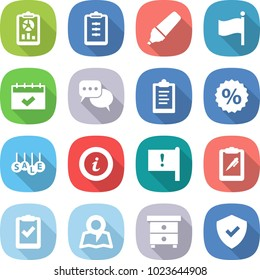 flat vector icon set - report vector, clipboard, marker, flag, calendar, discussion, percent, sale, info, important, pen, check, map, nightstand, shield