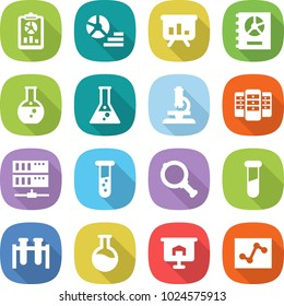 flat vector icon set - report vector, diagram, presentation, annual, round flask, microscope, server, vial, magnifier, test, analytics