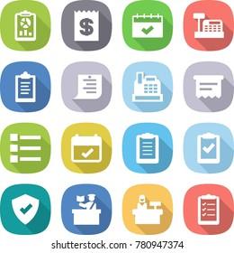 flat vector icon set - report vector, receipt, calendar, cashbox, clipboard, shopping list, atm, terms, check, protected, inspector, reception
