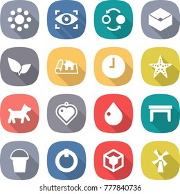 flat vector icon set - round around vector, eye identity, quantum bond, box, leafs, project, clock, starfish, dog, heart pendant, drop, table, bucket, on off button, 3d, windmill
