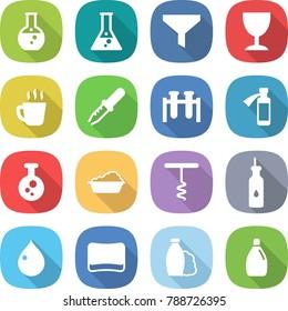 flat vector icon set - round flask vector, funnel, wineglass, hot drink, pipette, test vial, potion bottle, chemical, washing, corkscrew, vegetable oil, drop, sponge, shampoo, cleanser