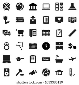 Flat vector icon set - ruler vector, notebook pc, archive, bank, clock, target, dollar cursor, clipboard, calendar, heart monitor, plane, tulip, package, speaker, eye doctor hat, connection, network