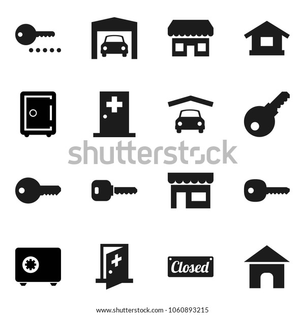 Flat vector icon set - safe vector, medical room, key, garage, closed, store, password, home