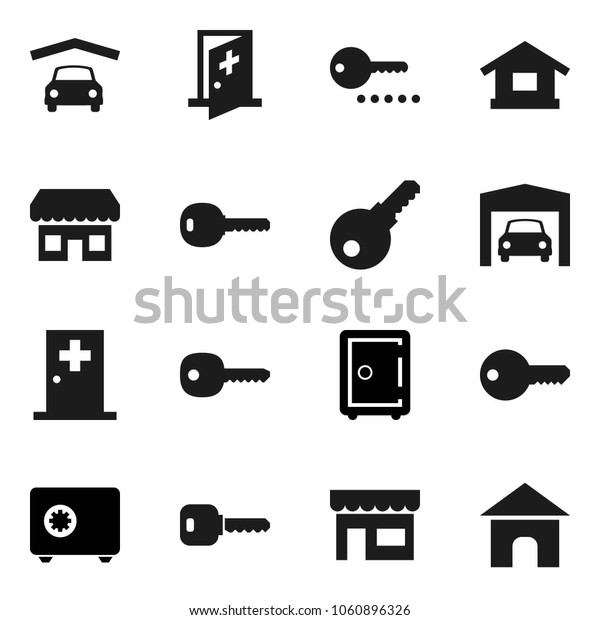 Flat vector icon set - safe vector, medical room, key, garage, store, password, home