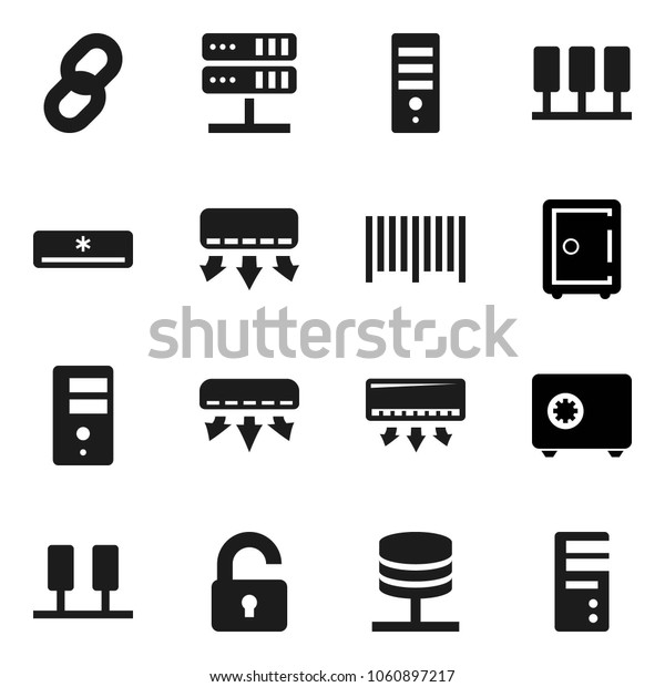 Flat vector icon set - safe vector, server, network, chain, unlock, air conditioner, barcode, computer