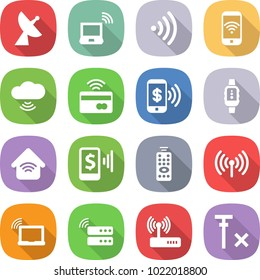 flat vector icon set - satellite antenna vector, notebook wireless, phone, cloud, tap to pay, smart watch, home, mobile, remote control, laptop wifi, server, router, no signal