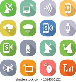 flat vector icon set - satellite antenna vector, notebook wireless, phone, cloud service, pay, smart watch, mobile, remote control, laptop wifi, mouse, signal