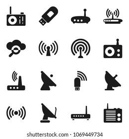 Flat vector icon set - satellite antenna vector, radio, cloud glass, usb modem, router, wireless