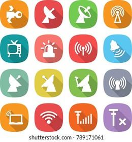 flat vector icon set - satellite vector, antenna, tv, alarm, wireless, bell, laptop wifi, signal, no