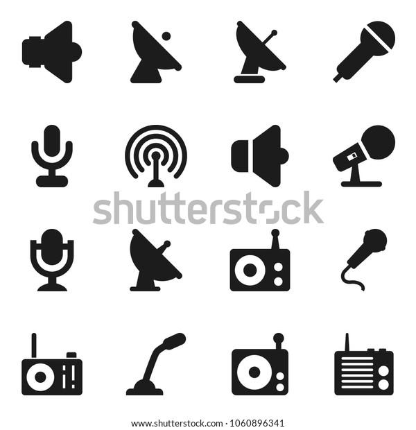 Flat vector icon set - satellite antenna vector, microphone, radio, speaker